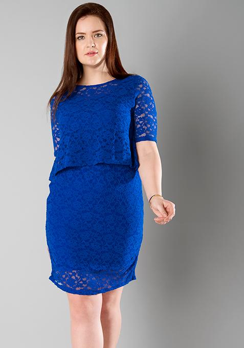 CURVE Blue Lace Layered Dress