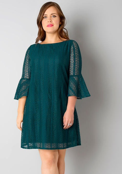 CURVE Lace Shift Dress - Teal