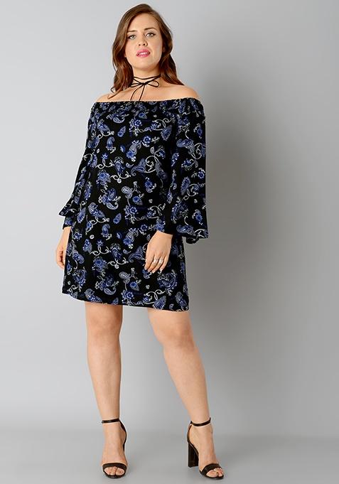 CURVE Bardot Shift Dress - Paisley