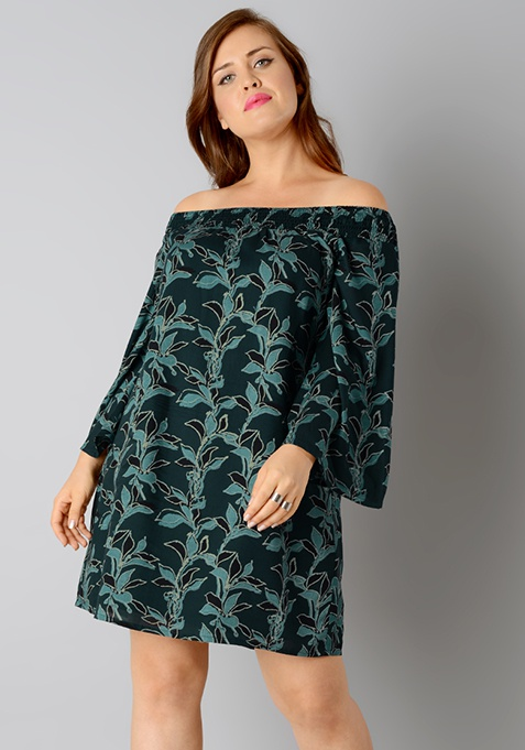 CURVE Bardot Shift Dress - Teal Leaf