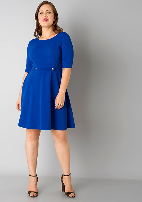 CURVE Skater Dress - Blue