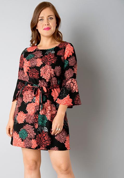 CURVE Belted Bell Sleeves Dress - Black Floral
