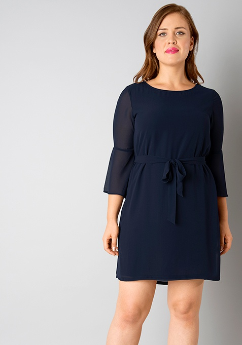 CURVE Belted Bell Sleeves Dress - Navy
