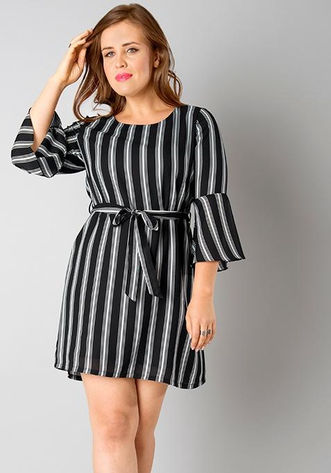 CURVE Belted Bell Sleeves Dress - Black Stripes