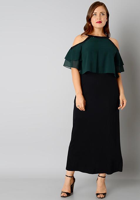 CURVE Halter Cape Maxi Dress - Green