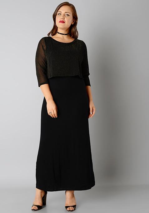 CURVE Lace Overlay Maxi Dress - Gold Black
