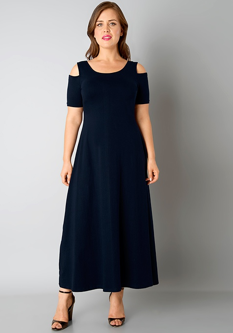 CURVE Cold Shoulder Maxi Dress - Navy