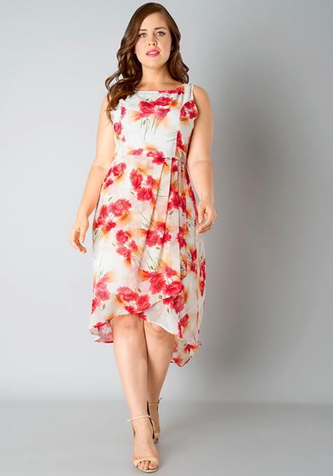 CURVE Tulip Hem Midi Dress - Red Floral