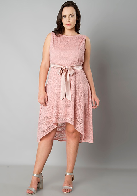 CURVE High Low Lace Skater Dress - Dusty Pink