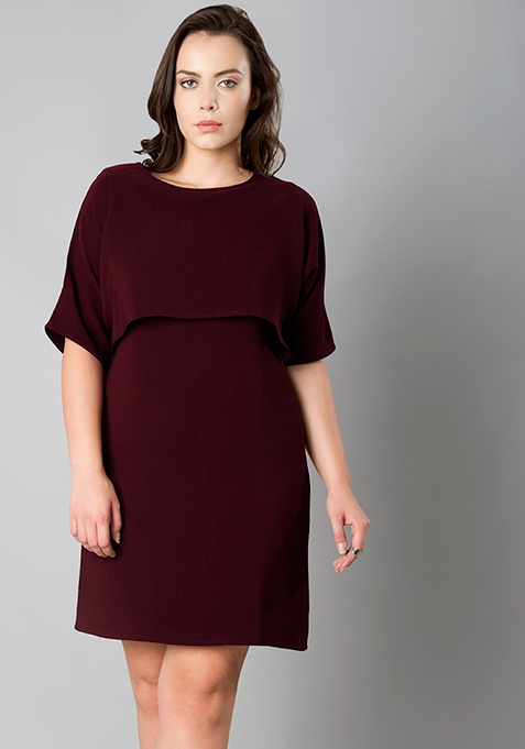 CURVE High Low Cape Shift Dress - Wine