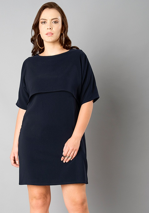 CURVE High Low Cape Shift Dress - Navy