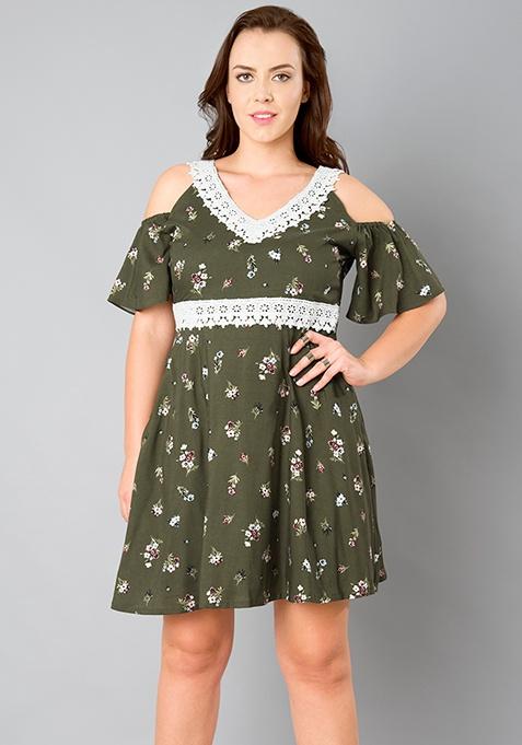 CURVE Cold Shoulder Skater Dress - Olive