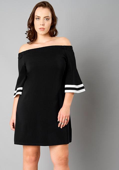 CURVE Off Shoulder Shift Dress - Black