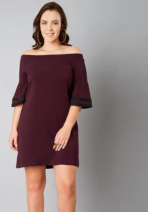 CURVE Off Shoulder Shift Dress - Wine