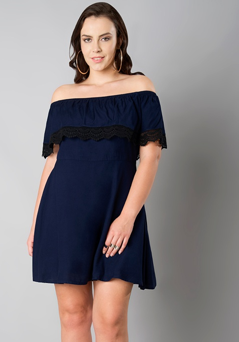 CURVE Navy Off Shoulder Ruffle Dress