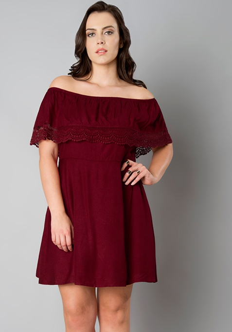 CURVE Oxblood Off Shoulder Ruffle Dress