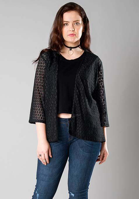 CURVE Black Lace Shrug