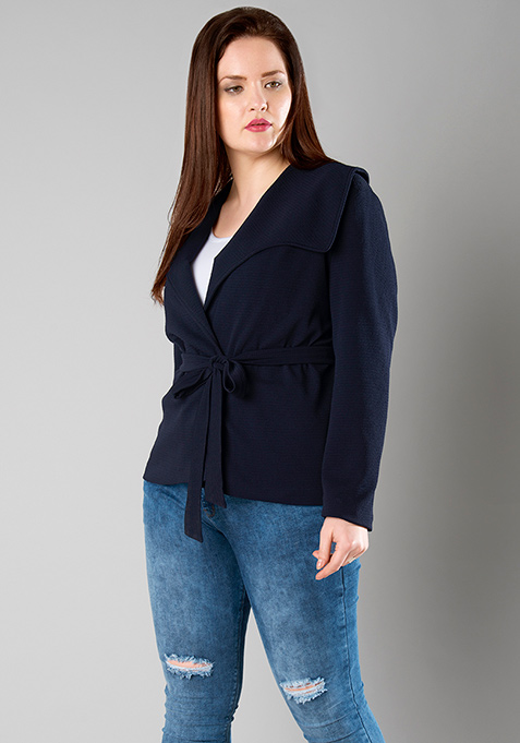 CURVE Sash Tie Jacket - Navy