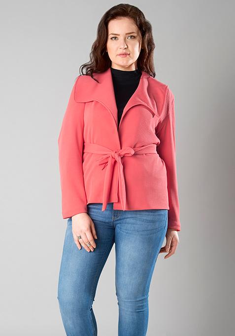 CURVE Sash Tie Jacket - Coral