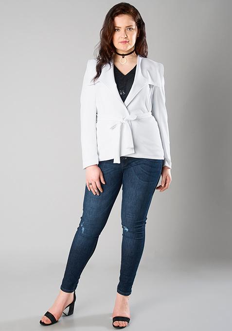 CURVE Sash Tie Jacket - White