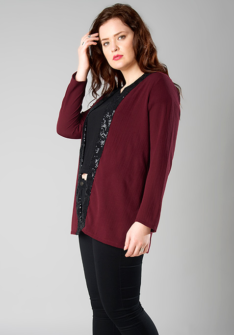 CURVE Sequin Lapel Shrug - Oxblood