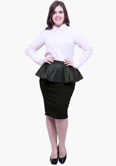 CURVE Peplum Pencil Skirt - Black