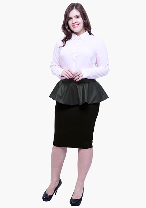 CURVE Peplum Pencil Skirt - Black