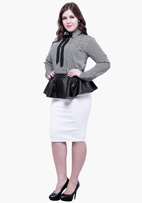 CURVE Peplum Pencil Skirt - White