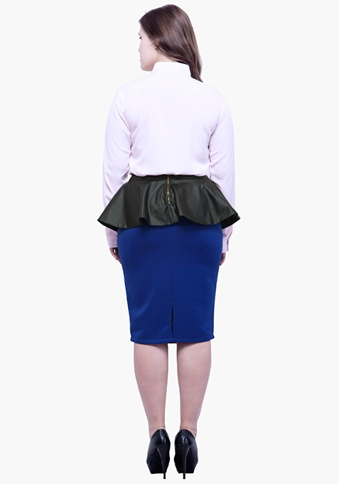 CURVE Peplum Pencil Skirt - Blue