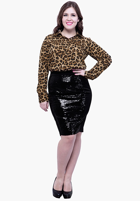 CURVE Panelled Sequin Skirt - Black
