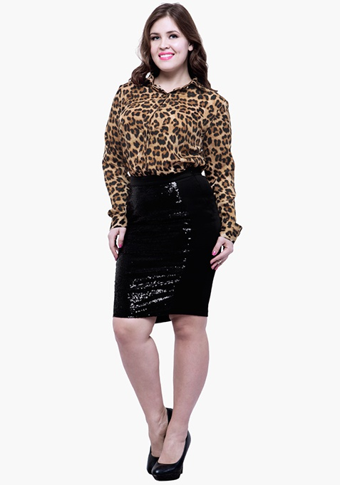 CURVE Panelled Sequin Skirt - Black