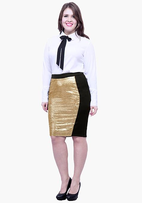 CURVE Panelled Sequin Skirt - Gold Black
