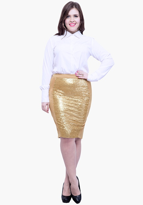 CURVE Panelled Sequin Skirt - Beige