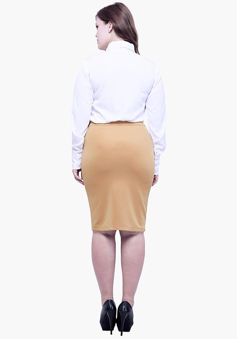 CURVE Panelled Sequin Skirt - Beige
