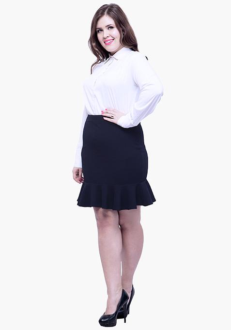 CURVE Fluted Mini Skirt - Navy
