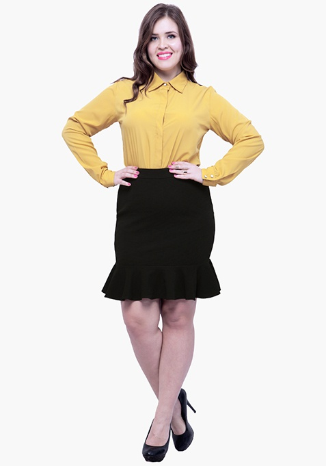 CURVE Fluted Mini Skirt - Black