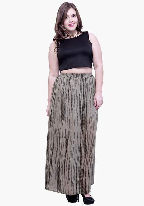 CURVE Tie and Dye Flare Maxi Skirt