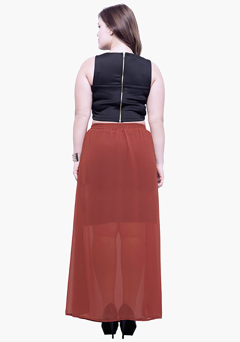 CURVE Rust Sheer Flare Maxi Skirt