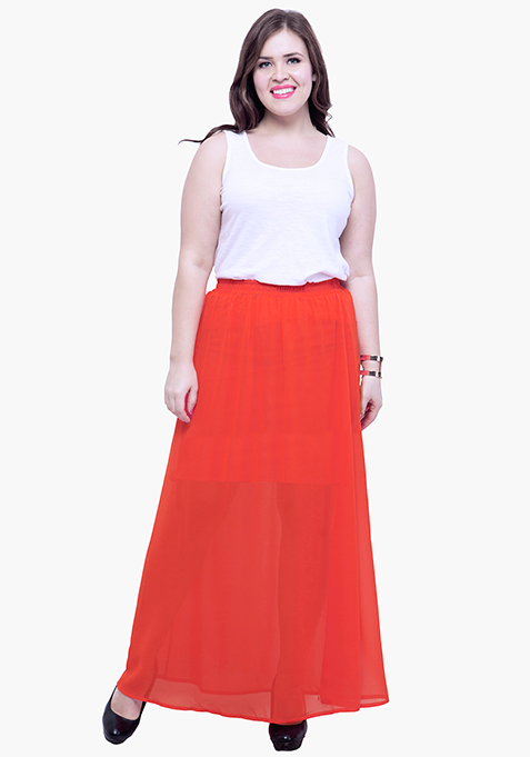 CURVE Orange Sheer Flare Maxi Skirt