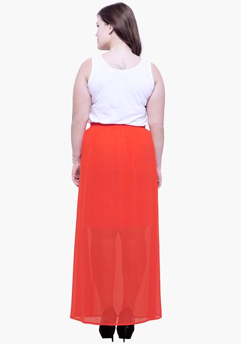 CURVE Orange Sheer Flare Maxi Skirt
