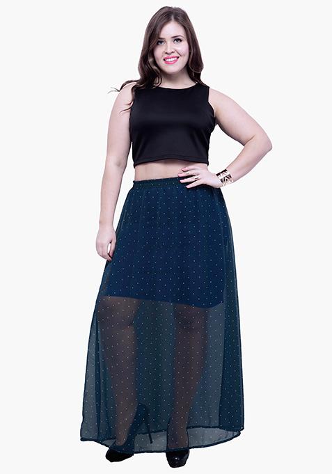 CURVE Polka Sheer Flare Maxi Skirt