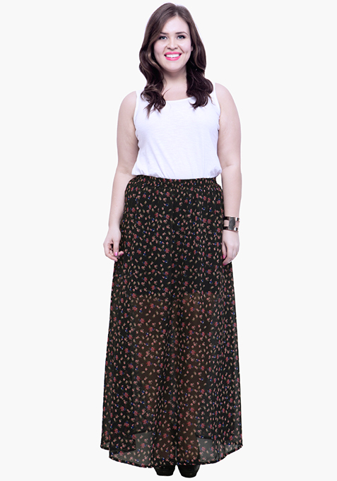CURVE Floral Sheer Flare Maxi Skirt