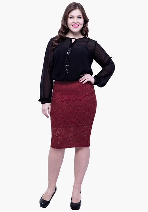 CURVE Lace Bloom Pencil Skirt - Oxblood