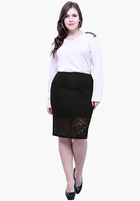 CURVE Lace Bloom Pencil Skirt - Black