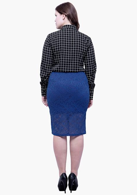 CURVE Lace Bloom Pencil Skirt - Blue