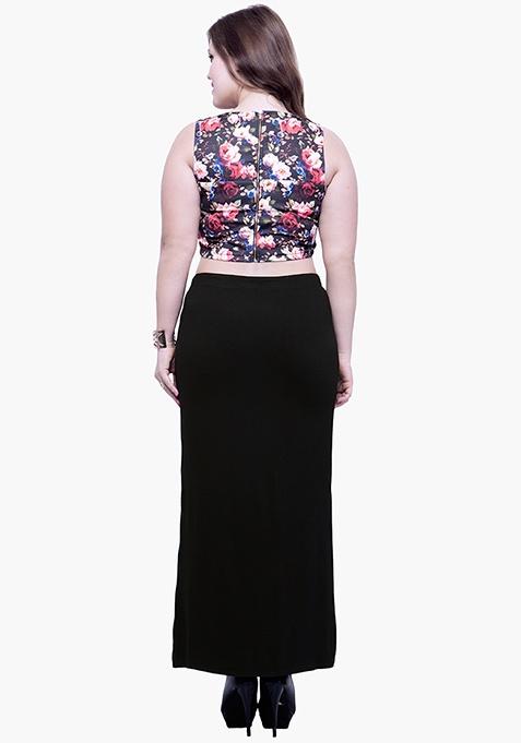 CURVE Free Flare Slit Maxi Skirt - Black