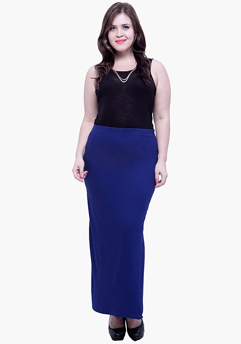 CURVE Free Flare Slit Maxi Skirt - Navy