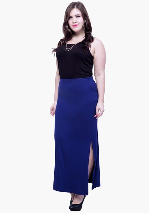 CURVE Free Flare Slit Maxi Skirt - Navy