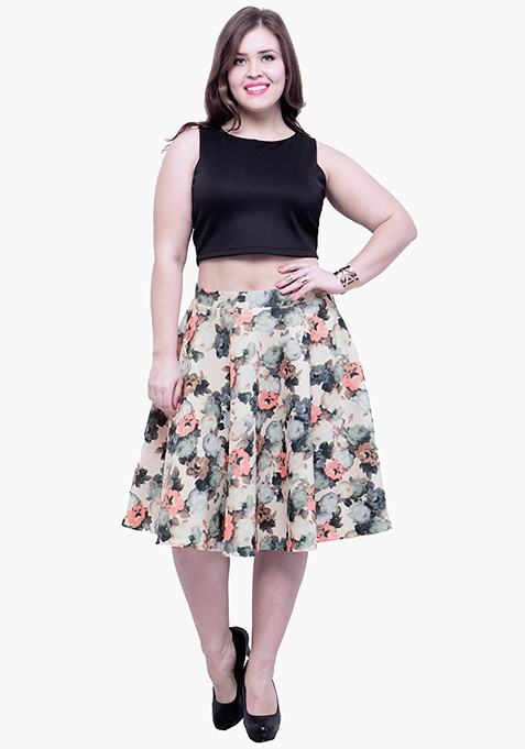 CURVE Glam Dose Scuba Midi Skirt - Floral