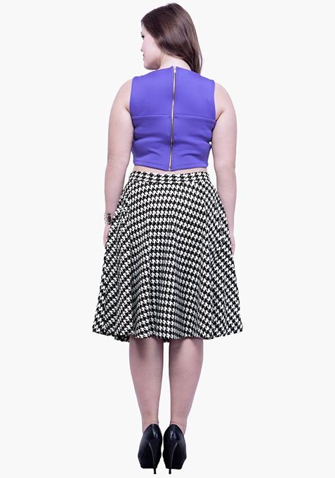CURVE Flare Midi Skirt - Houndstooth